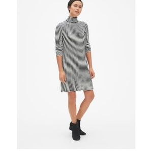 GAP Striped Turtleneck Swing Dress